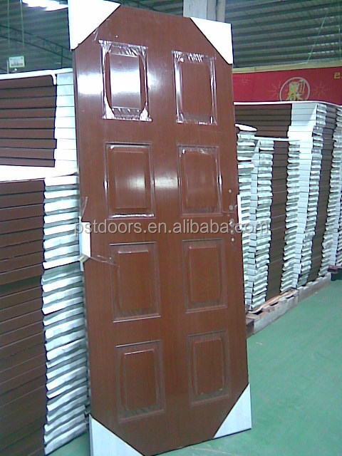 6 Panel Walnut Color American Steel Door