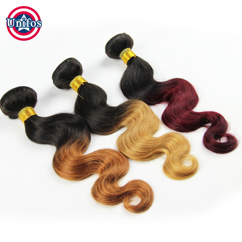 Single Bundle Brazilian Hair Body Wave Ombre Brazilian Virgin Hair Body Wave Ombre Hair Extensions 1b30 1B 27 1B Burgundy Ombre