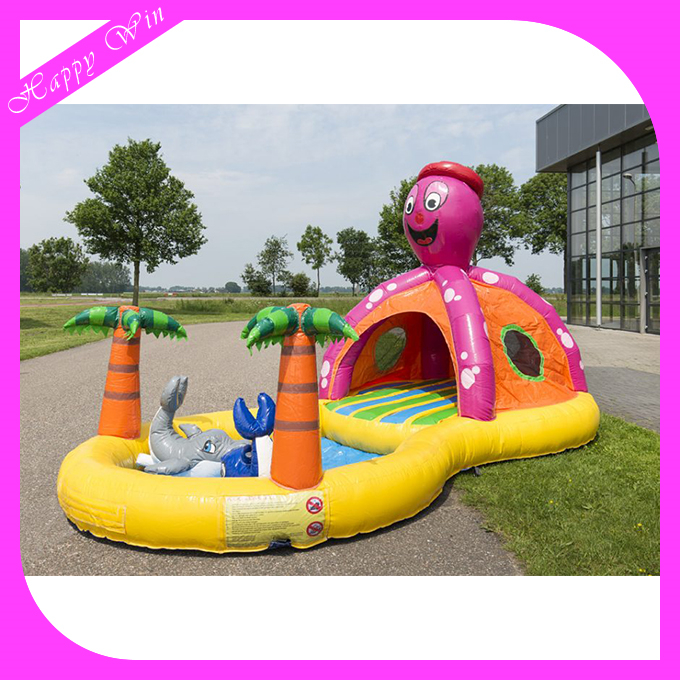 Happy cartoon octopus inflatable bouncer combo,popular inflatable bouncer with pool for kids