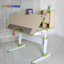 child wooden desk with wheel and can adjustable