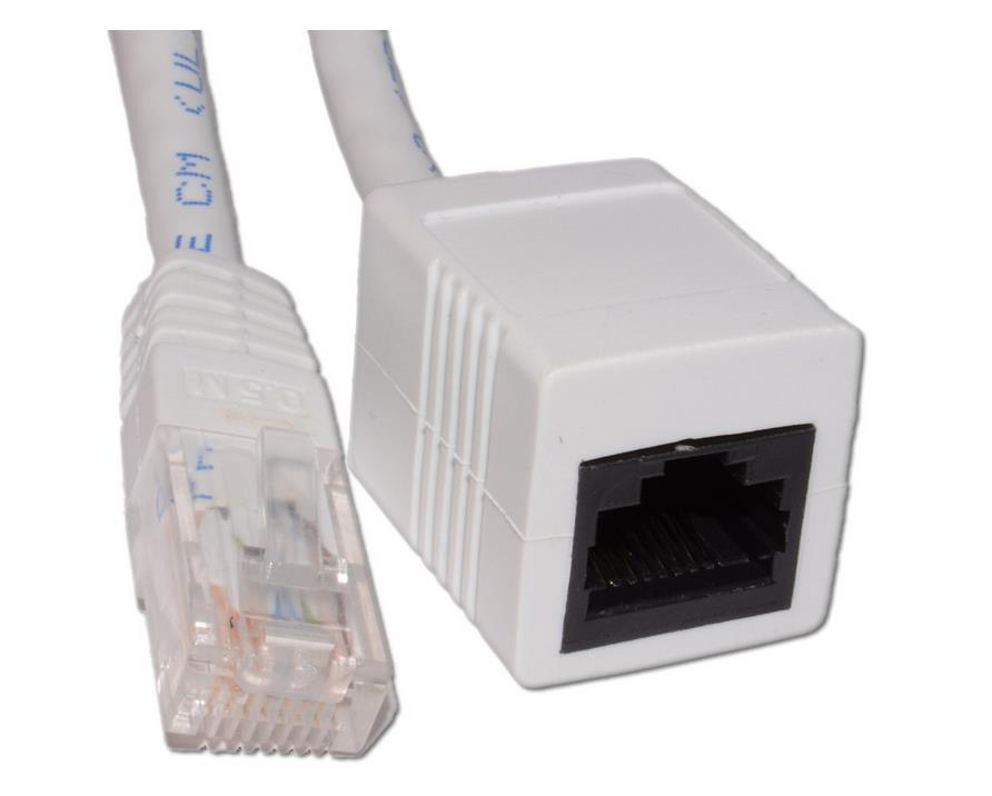 High Quality Network CAT5e UTP Ethernet RJ45 Extension Male/Female Cable White