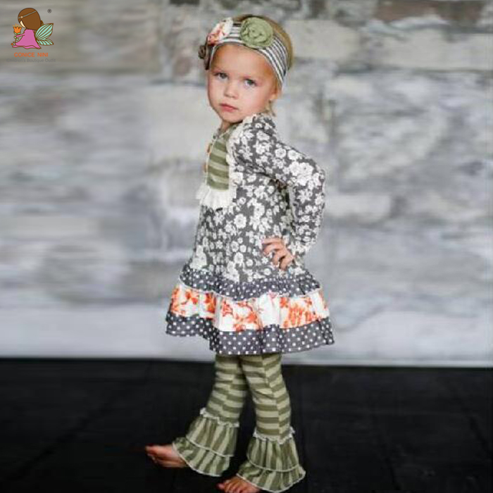 Conice nini brand applique ruffle chevron printing wholesale children's boutique clothing