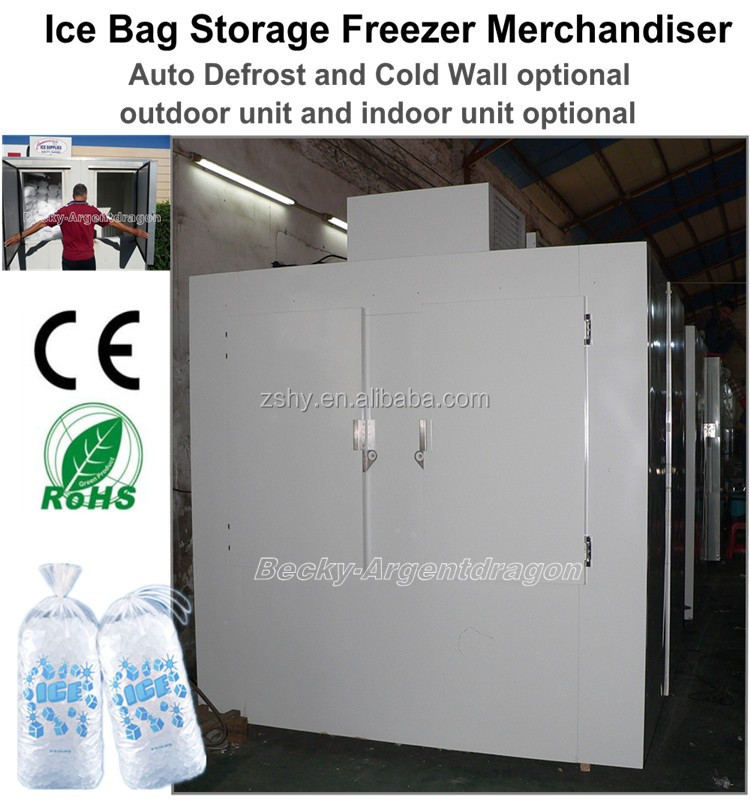 Commercial ice bag storage freezer merchandiser indoor & outdoor use