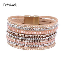 Artilady Top quality European crystal jewelry 2017 luxury design leather cuff bracelet magnetic, magnetic clasps for bracelets
