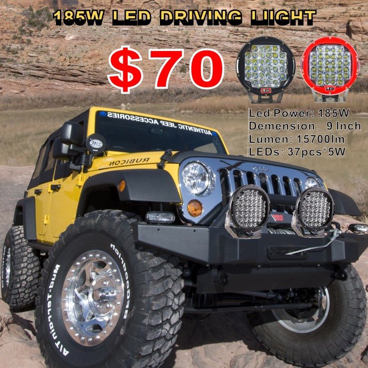 185W LED Driving Light ,round LED work light, 185w C ree Offroad Light 185w Offroad LED Driving Light 9inch 4wd Spot Light