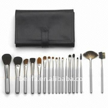 18pcs Pro cosmetic brush set with nylon fabric pouch