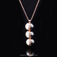 Latest double sided pearl pendant design fashion rose golg plated pearl pendant designs for women