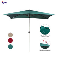 6.6 by 9.8 Ft Square Market Polyester Outdoor Table Large Swivel Umbrella For Garden