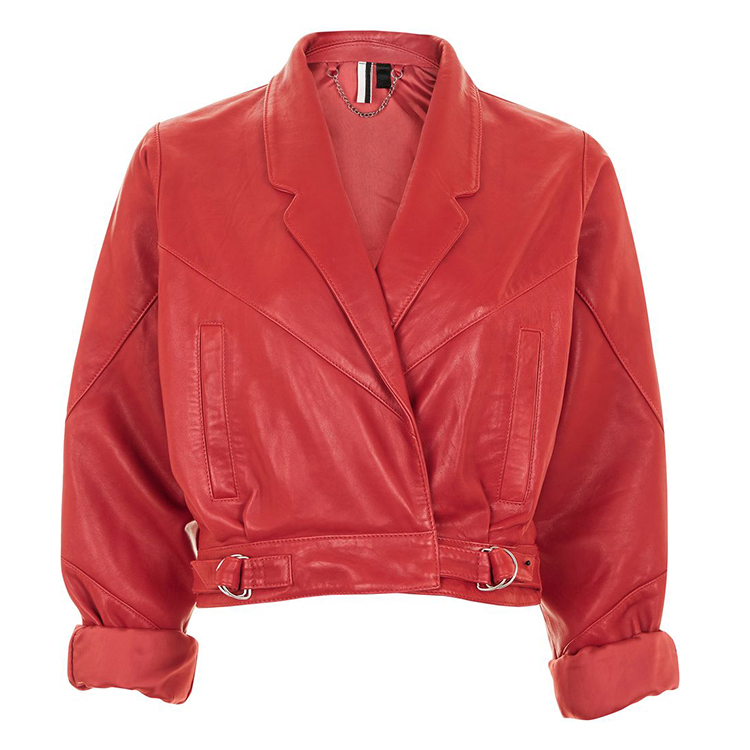 Hongxiong OEM Service High Quality Red Short with Double Loop at the Bottom PU Leather Jacket