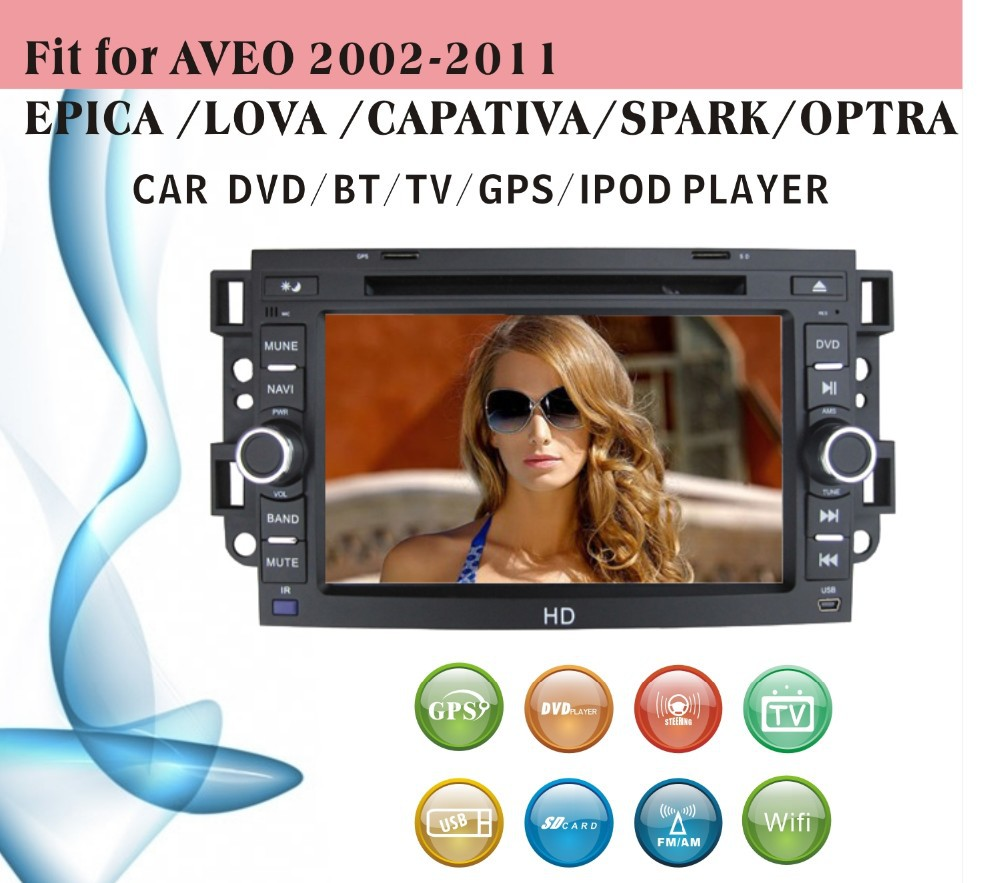 auto radio gps car dvd 1 din fit for Chevrolet Aveo 2002 - 2011 Epica Lova Captiva with radio bluetooth gps tv
