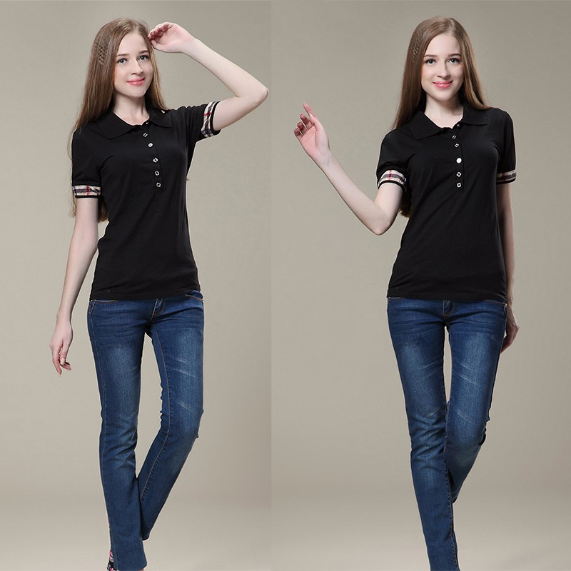 ladies women fashion new designs slim fit black blank soft short sleeves polo shirt