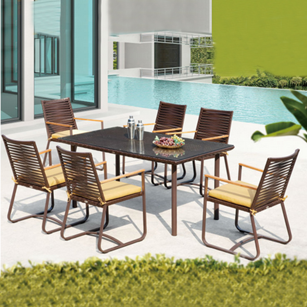 Garden furniture man-made wicker table and chair italian style dining room furniture