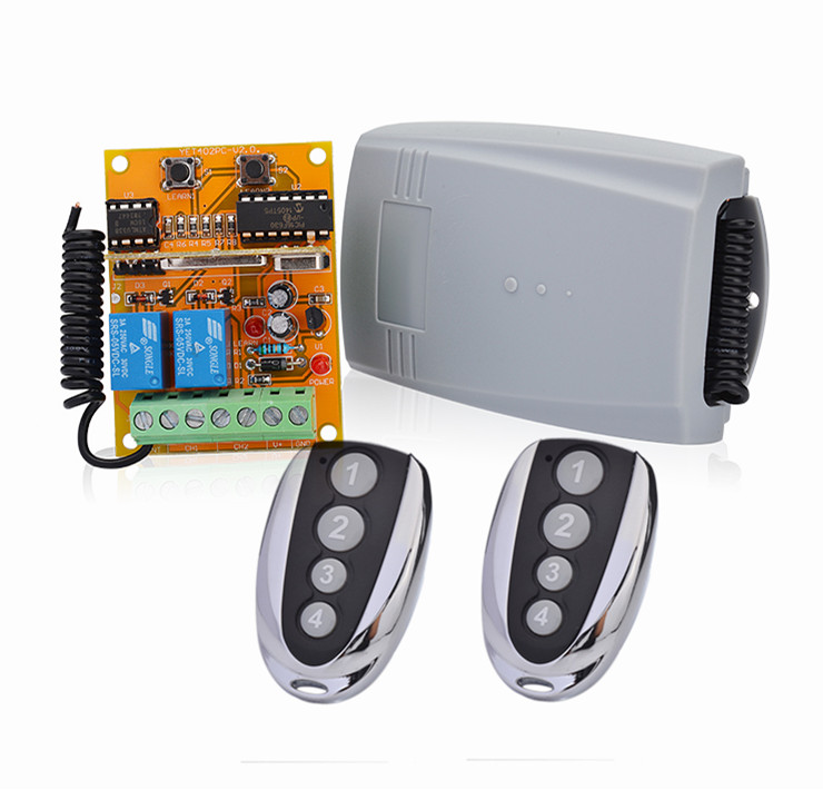 YET402PC-v2.0 12V-24V Remote Control Switch 2 channel Universal Auto Gate Receiver Compatible BFT/Benicna/Came/V2