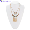 Bohemian Jewelry Gold And Sliver Two Layers Chains With Green Acrylic Tassel Chain Necklace Women