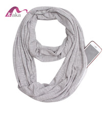 New style solid color infinity scarf scarf with pocket, scarf with zipper pocket