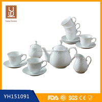 Cheap competive ceramic porcelain coffee tea pots with 6pcs cups and 6pcs saucers