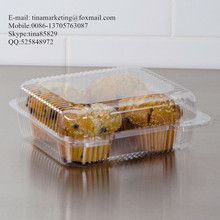 Square Clear Hinged Clamshell Type Plastic StayLock Medium Food Container for Salad, Muffins, Cake, Pastry and Fruit Packaging