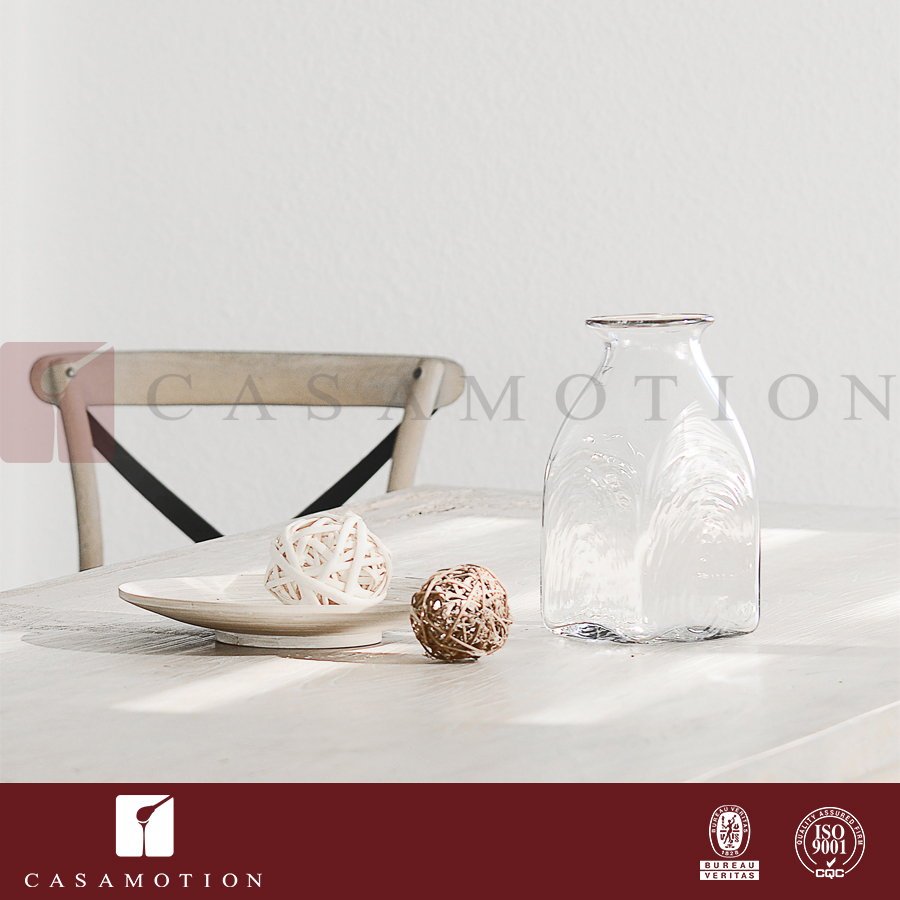 CASAMOTION Thick Cube Wedding Decoration Wholesale Mouth Blown Clear Glass Vase