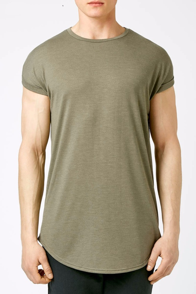 ATS172 wholesale blank elongated wholesale mens scoop bottom extra long t shirt man