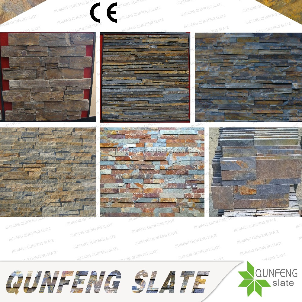 CE Passed Split Surface Antacid Decorative Culture Stone Panel Rusty Slate Wall
