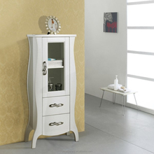 Ivory White Solid Wood Bathroom Corner Side Cabinets
