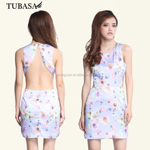 wholesale round neck sleeveless floral printed open back women without dress for sexy picture