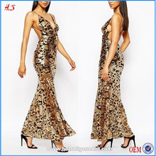 New Fashion Sexy V-NECK Open Back Luxurious Sequin Maxi Fishtail Dress Party Wear Long Latest Net Dress Designs Evening Gown