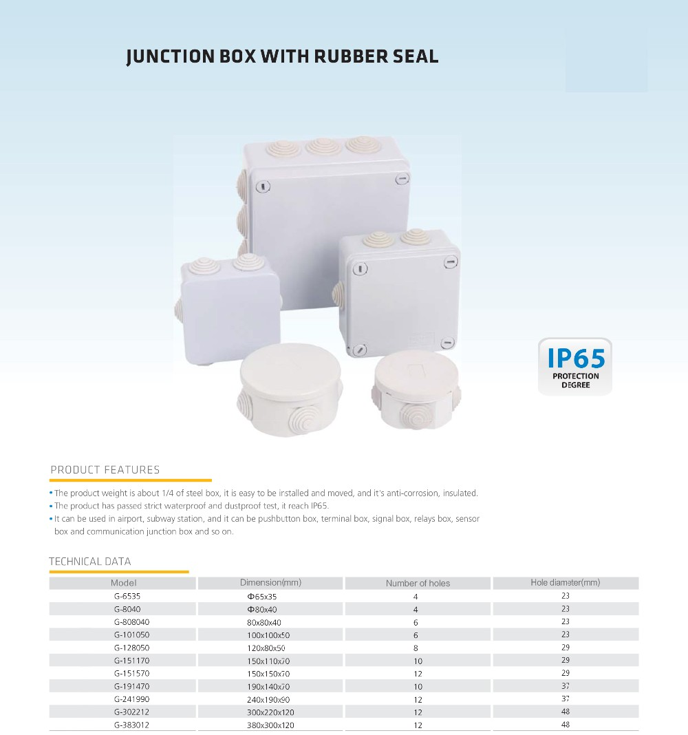 ip65 plastic waterproof electrical types of electrical junction boxes