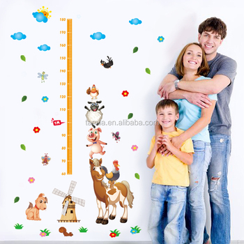 Removable kids height measurement wall sticker growth chart