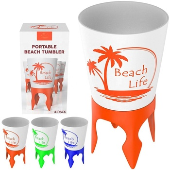 Eco-friendly plastic multi-function bottom chair shaped bottle opener top separated portable sand coffee beach cup drink Holder