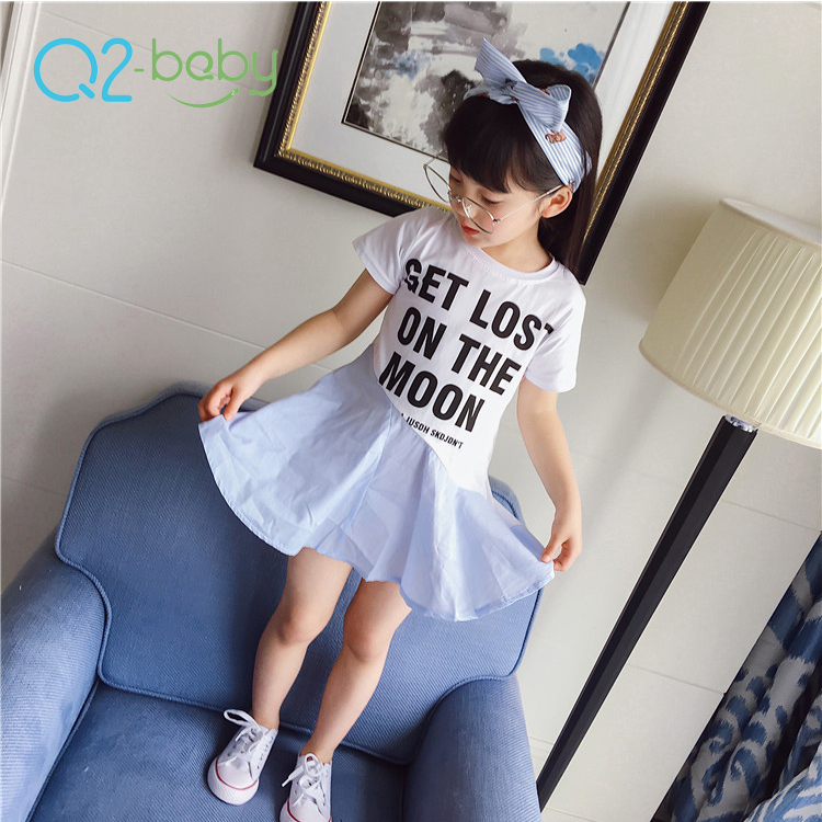 Q2-baby New Arrival Summer Girls Splicing Kids Beautiful Model Short Dresses