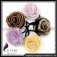 CX-E-09 Wholesale Cheap Elastic Hair Band Rex Fur Flowers elastic Hair Accessories
