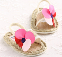 Hemp rope flower baby shoes fancy dress shoes baby girl sandals baby shoes