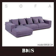 Adjustable headrest Purple sectional sofa leisure fabric sofa set