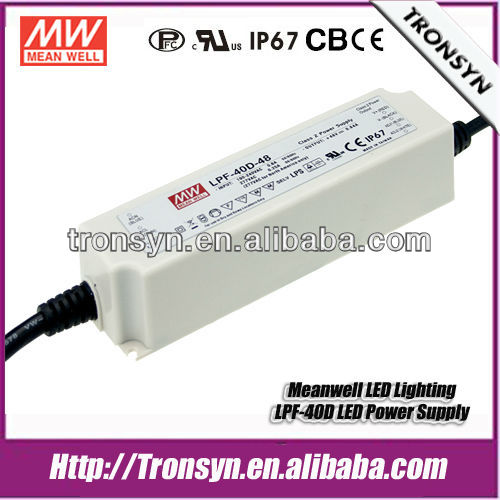 Meanwell dimmable 12 volt led driver 40W 12V PFC,IP67 LED Driver, LPF-40-12