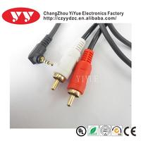 Supply yiyue AV cable,Stereo MOLDED 3.5 jack to 2RCA male A/V cable
