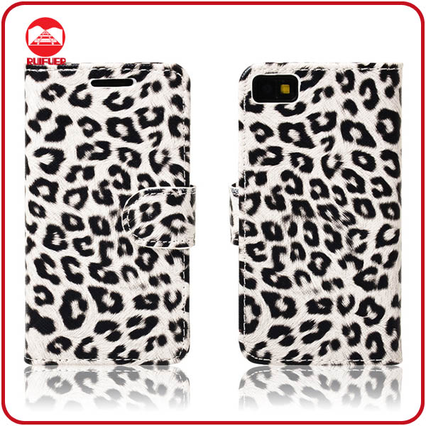 RF Manufacturer Luxury Leopard Design Book Style Stand Flip Wallet Leather Case for Blackberry Z10