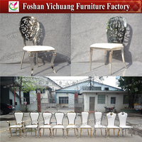 YC-SS34 Modern Wholesale luxury Silver Stainless Steel wedding chair with white Pad for Dining Room