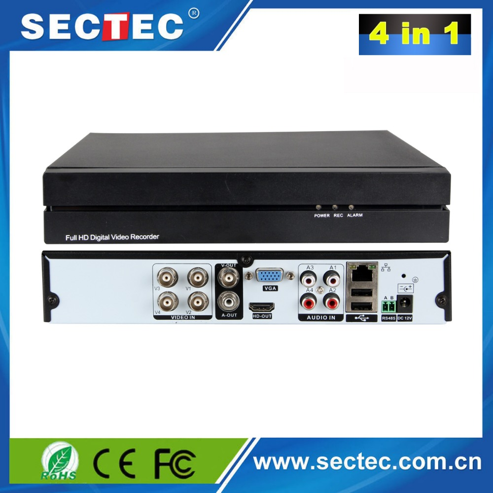 China DVR Manufacturer Sectec 4ch 3mp 1Sata HDD H.264 Network 4 in 1 DVR