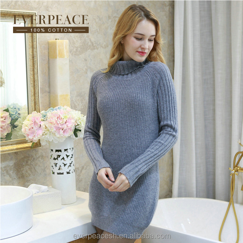 Women knitted turtle neck long sweater