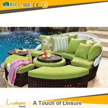 Affordable synthetic rattan daybed with canpoy outdoor furniture 4 pcs sunbed pool furniture