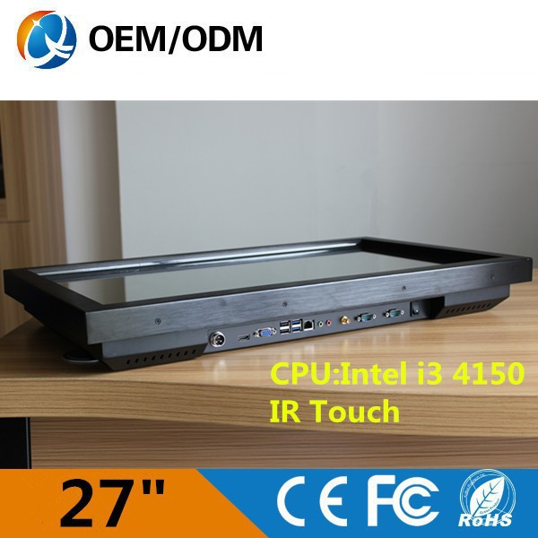 OEM ODM 27 inch 2014 New Intel i3 CPU Panel PC, Nettop with RJ-45, Fanless, WiFi, mini pc windows 8