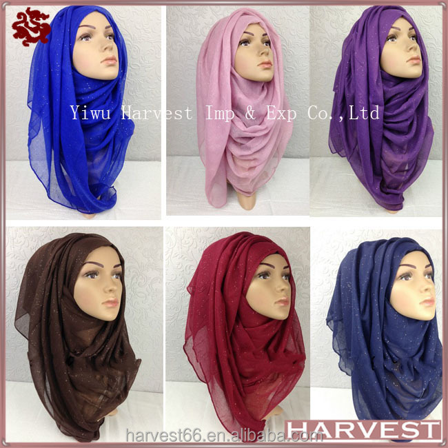 Fashion Big Large Viscose Muslim Hijab <strong>scarf</strong> With Glitter,31Colors Available