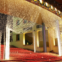 Wholesale Hot selling 3m*3m 300leds Christmas outdoor curtain lights CE ROHS approved optic fiber curtain light with 8 function