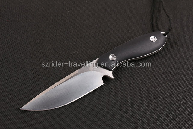 OEM high quality D2 blade army tactical military knife with CNC black G10 handle