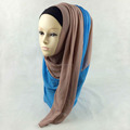 Two Colors Tone Chiffon Stitched Muslim Scarf Hijab 2 Different Color Islamic Shawls Wrap QK038a