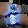 LED colorful luminous fashion men and women quartz watch Led Flash Luminous Watch Jelly Silicone 7 color light Watch
