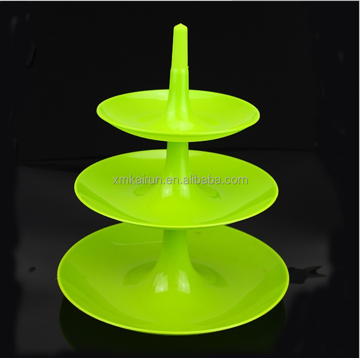 Plastic 3 tier fruit tray/snacks serving tray/party tray