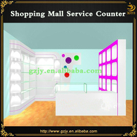 customized newly wooden front desk equipment for shopping mall front counter design