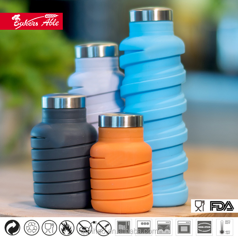 New design collapsible silicone water ques bottle